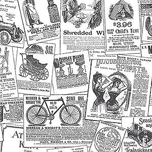 black and white vintage newspaper print wallpaper. Black Bedroom Furniture Sets. Home Design Ideas