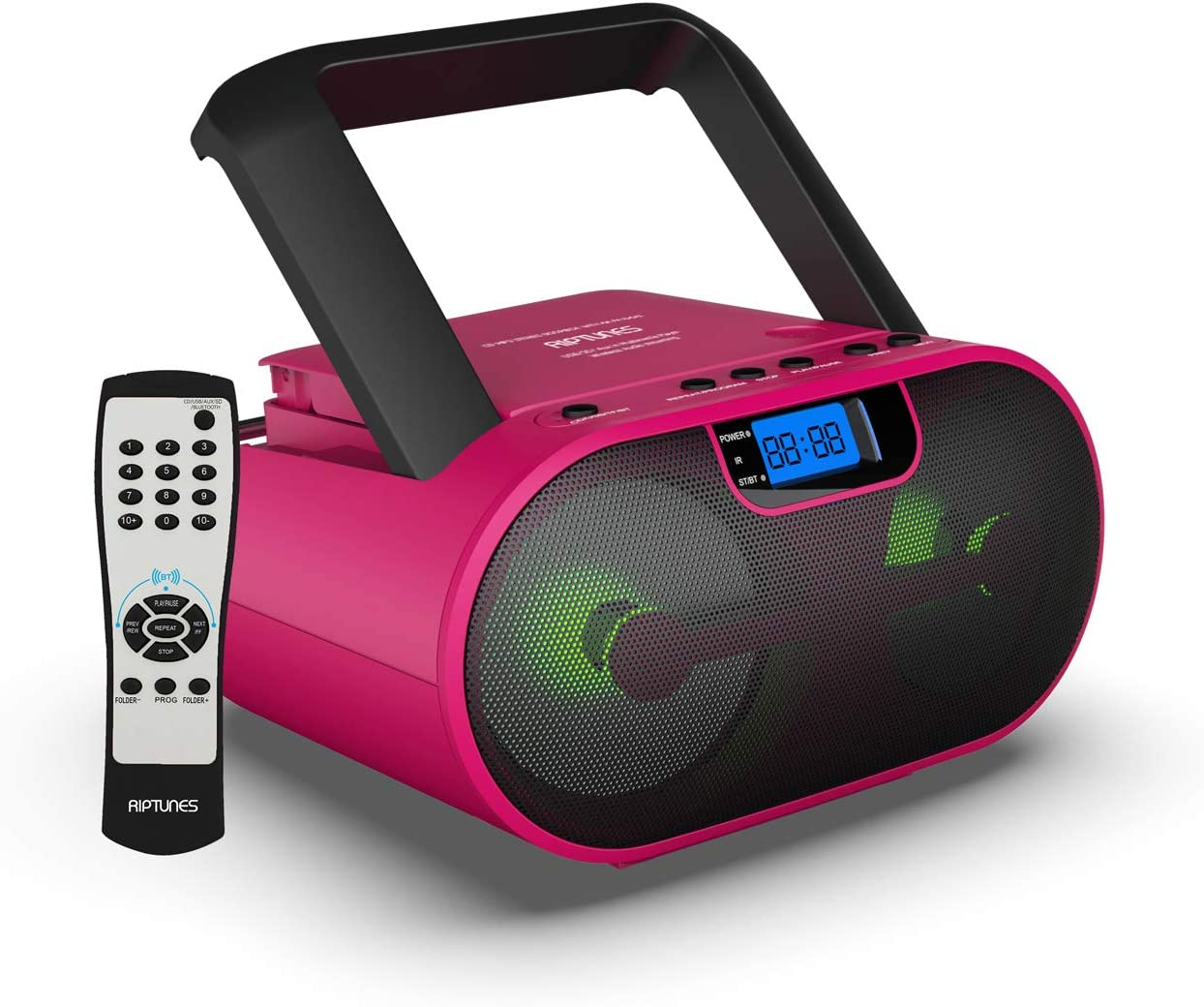Riptunes CD Player Boombox Portable Radio AM/FM Digital Bluetooth Boombox MP3/CD, USB, mSD, Aux, Headphone Jack Stereo Sound System with Enhanced Bass, LED Lights, LCD Display with Remote, Pink