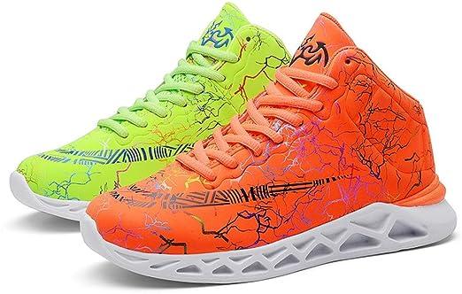 GXTING Zapatillas De Baloncesto para Niños, Zapatillas Altas Zapatillas De Deporte Antideslizantes para Correr Al Aire Libre Botas De Baloncesto para Niños Unisex,Orangegreen,37: Amazon.es: Hogar