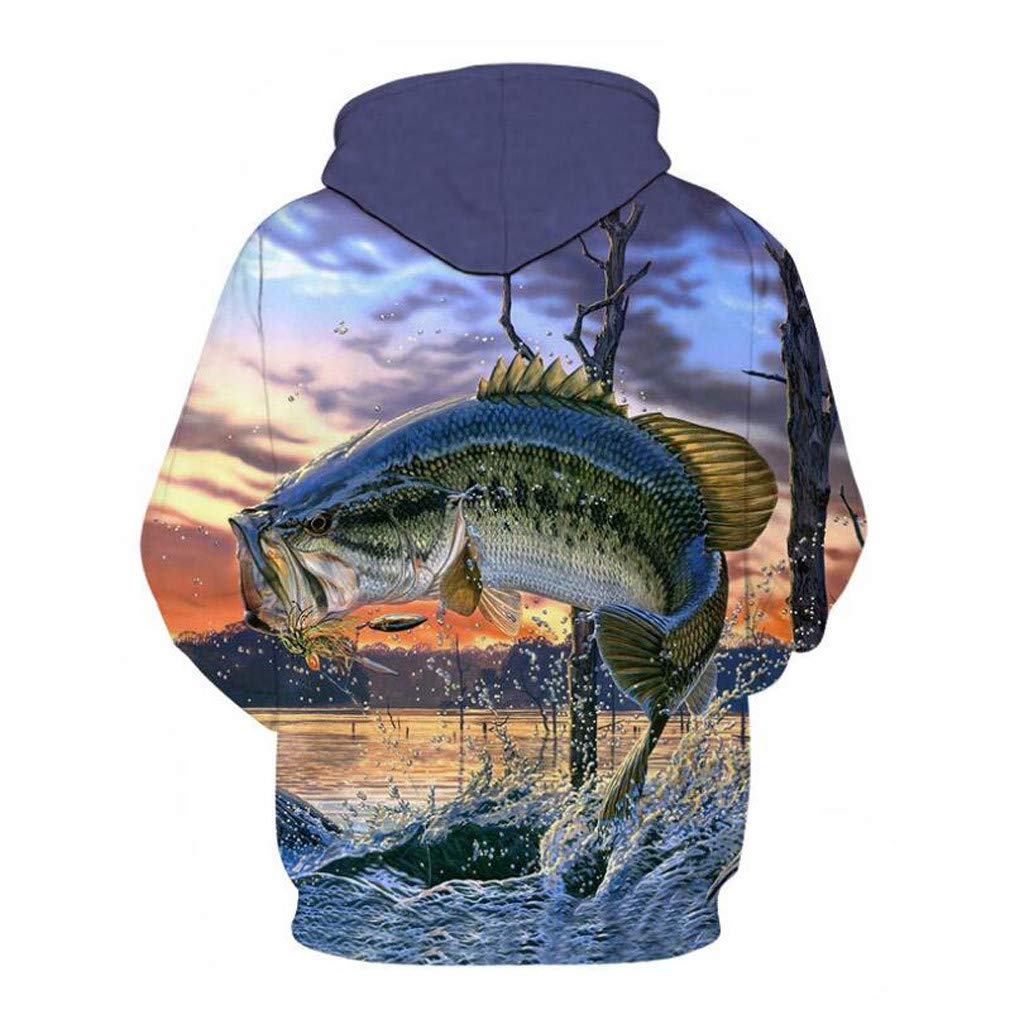 Jumping Squid HiGOGO Mens Fashion 3D Printed Pullover Long Sleeve Fleece Hooded Sweatshirts Top Blouse with Pockets