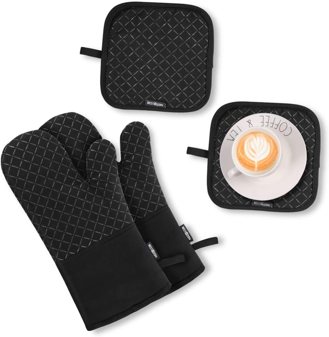 Heat Resistant Oven Mitts and Pot Holders, Soft Cotton Lining with Non-Slip Surface for Safe Baking Grilling, 4PCS (Black)
