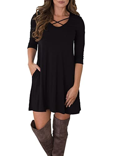 MIHOLL Women's Casual 3/4 Sleeve Pockets Criss Cross Loose T-Shirt Dress