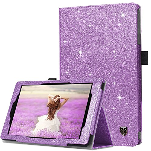BENTOBEN Amazon Fire HD 8 Case (2018/2017/2016 Released,8th/7th/6th Generation),Kickstand Glitter Sparkly Folio Folding Cover with Stylus Holder & Auto Wake/Sleep Protective Case for Fire HD 8,Purple