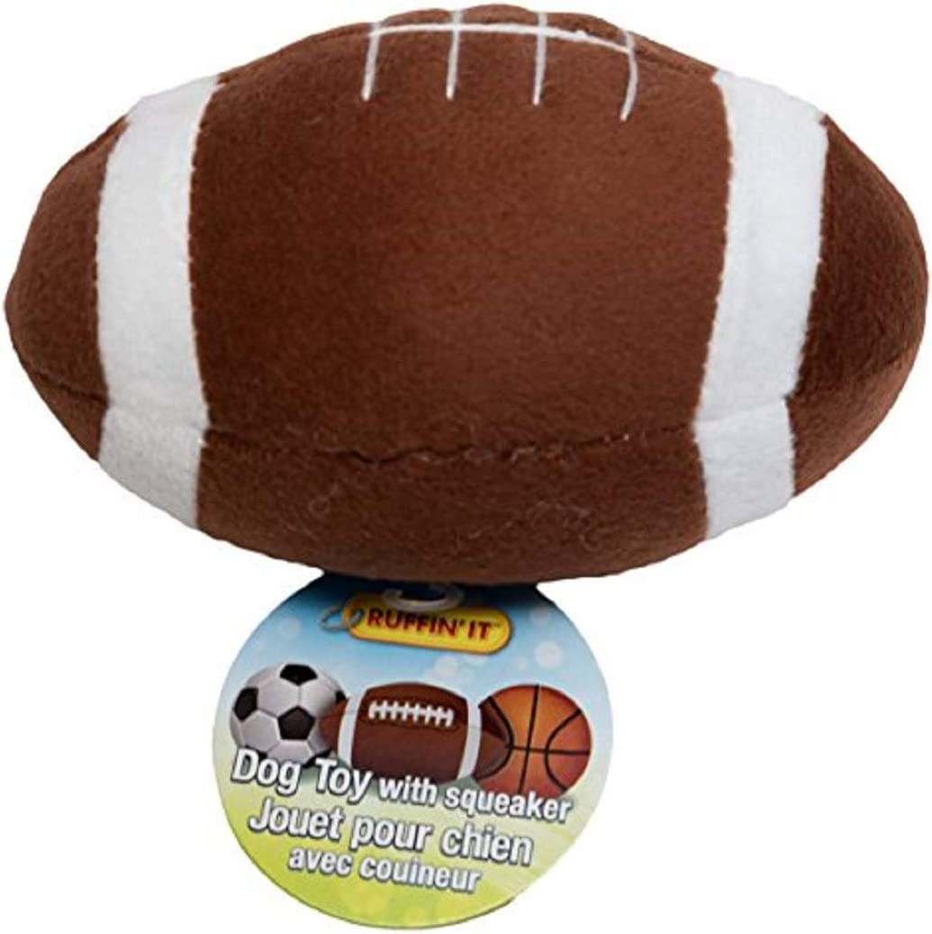"Ruffin It Westminster Plush Sports Ball Dog Toy, Football 5.5"" x 3.5"" x 3.5"""