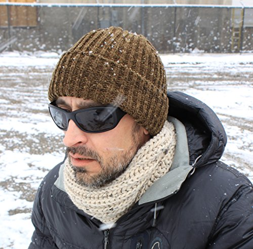Icebox Knitting Dohm Otto Leather Winter Wool Hat Skull Cap Beanie For Men and Women