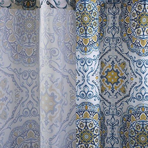 Home Essence Bluewhiteyellow Shower Curtain Taya Washable Shower