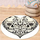 VROSELV Custom carpetDay Of The Dead Decor Twin Half Fire Design in Hearts Festive Spanish Image Print for Bedroom Living Room Dorm Cream and Black Round 79 inches