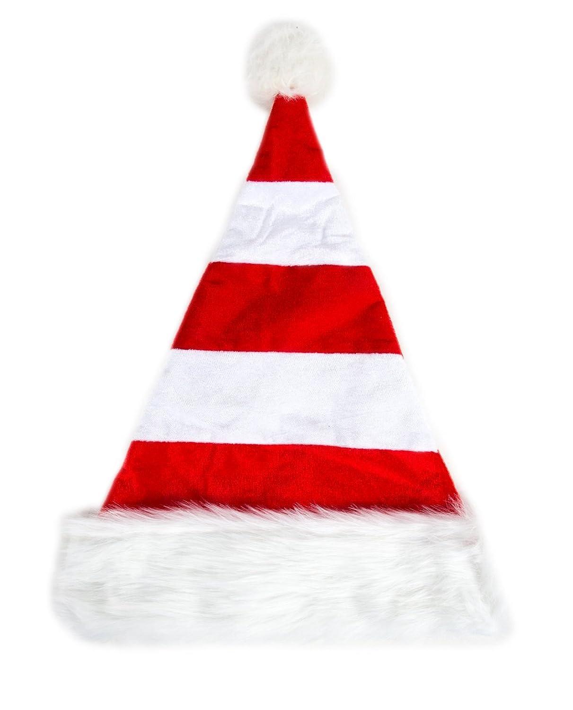 Weihnachtsmütze Nikolausmütze Weiß Rot Gestreift Plüsch Rand Nikolaus Mütze X57