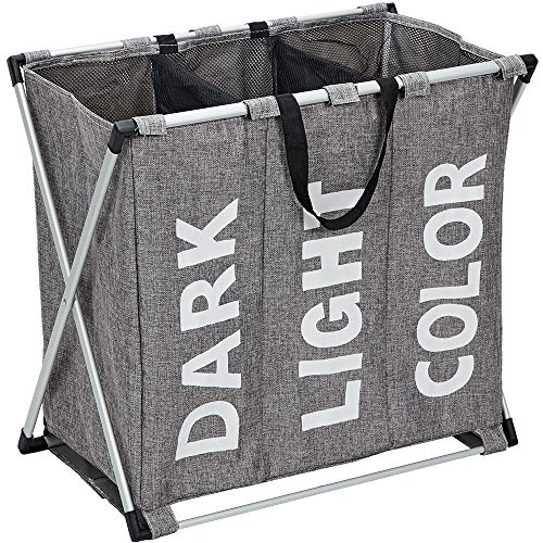 HOMEST Laundry Basket 3 Sections, Large Dirty Clothes Hamper Sorter for Bathroom, Foldable Hamper Divided, Dark Grey