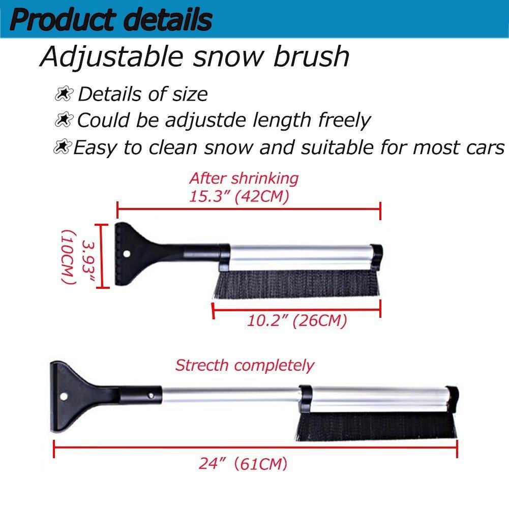 Big Hippo Snow Brush /& Ice Scraper Extendable 24 Car Brush and Ice Scraper Auto Snow Removal Car Truck SUV Windshield Lightweight Sturdy Aluminium Design