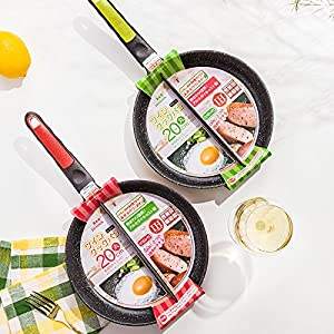 Xiaolanwelc@ Life83 20 CM Breakfast Frying Pan Non-Stick 2 in 1 Frying Pan Non-Smoke Divided Grill For Fried Eggs and Bacon