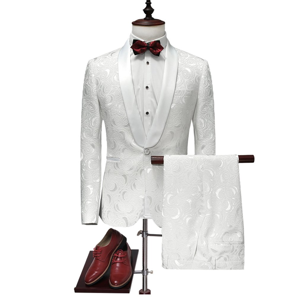 577Loby Latest Coat Pant Designs White Wedding Tuxedos For Men Slim Fit Mens Printed Suits
