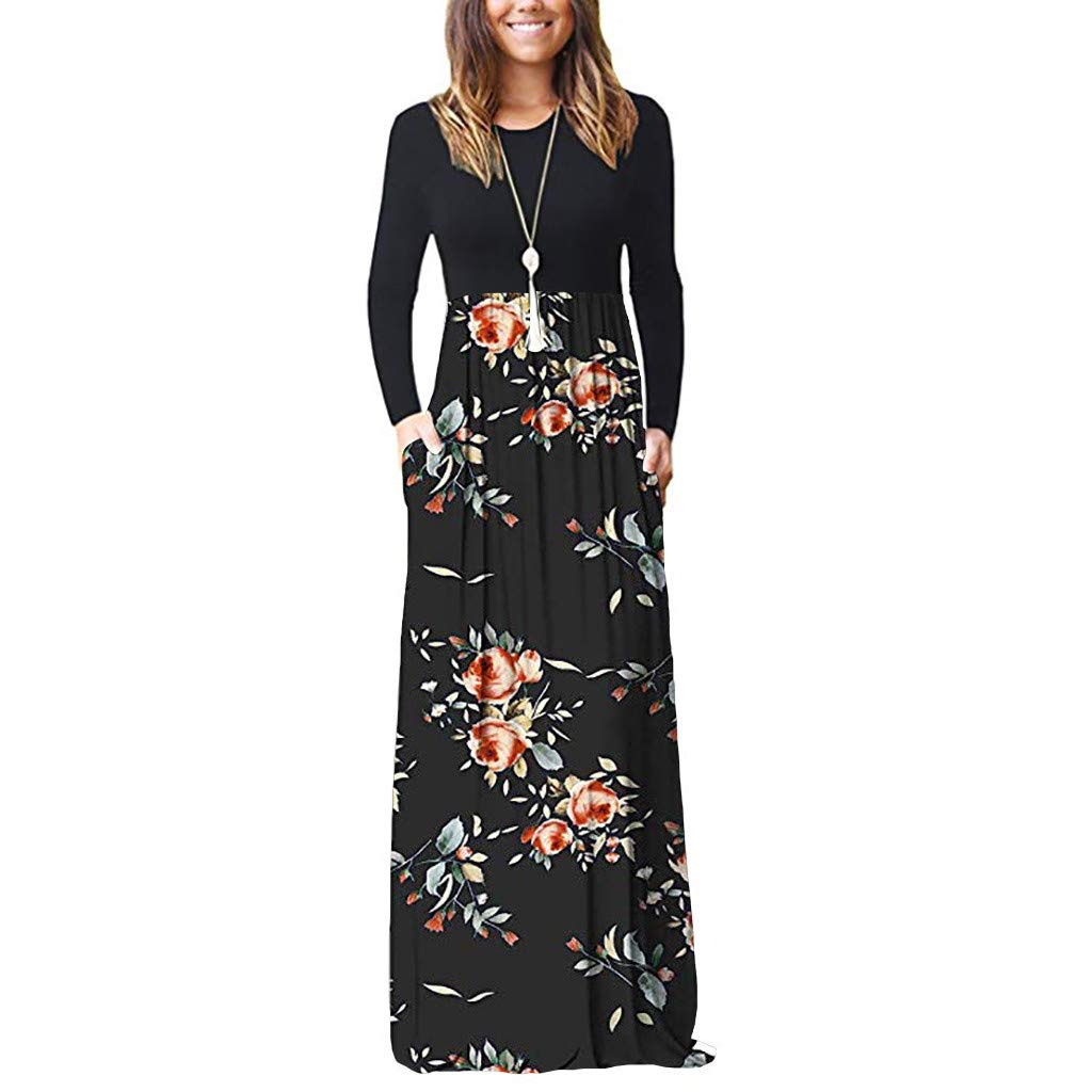 Elegant Maxi Dresses for Women Sale Chaofanjiancai Long Sleeve Loose Plain Maxi Pockets Dresses Casual Printed Long Dresses Black by Chaofanjiancai_Dress