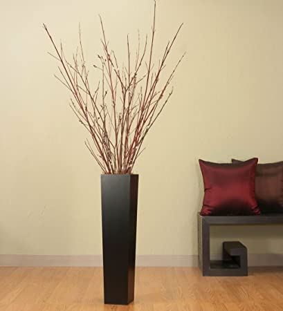 Amazon Greenfloralcrafts 27in Tall Black Floor Vase Dark Red