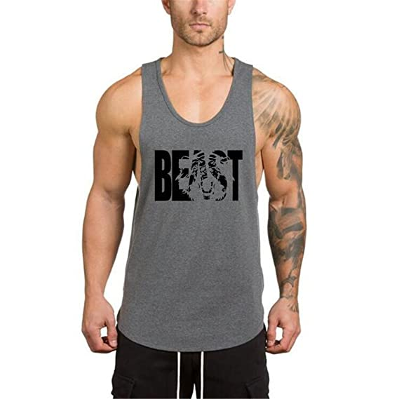YeeHoo Beast Camiseta Sudaderas Hombre Culturismo Muscular Chaleco sin Mangas Deportiva de Tirantes Tank Top algodón: Amazon.es: Ropa y accesorios
