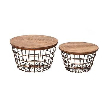 Wohnzimmertisch Set Holzdeckel Mit Metallgeflecht Korbtisch Beistelltische Passend Skandinavisch 2 Stck Kupfer