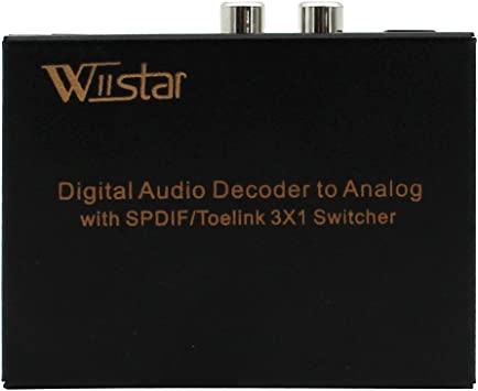 3x1 Digital Optical Audio Selector Switch with Analog Stereo RCA output /& Dolby Decoder