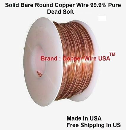Amazon.com: Solid Bare Copper Round Wire 5 Oz Spool Dead Soft 12 To ...