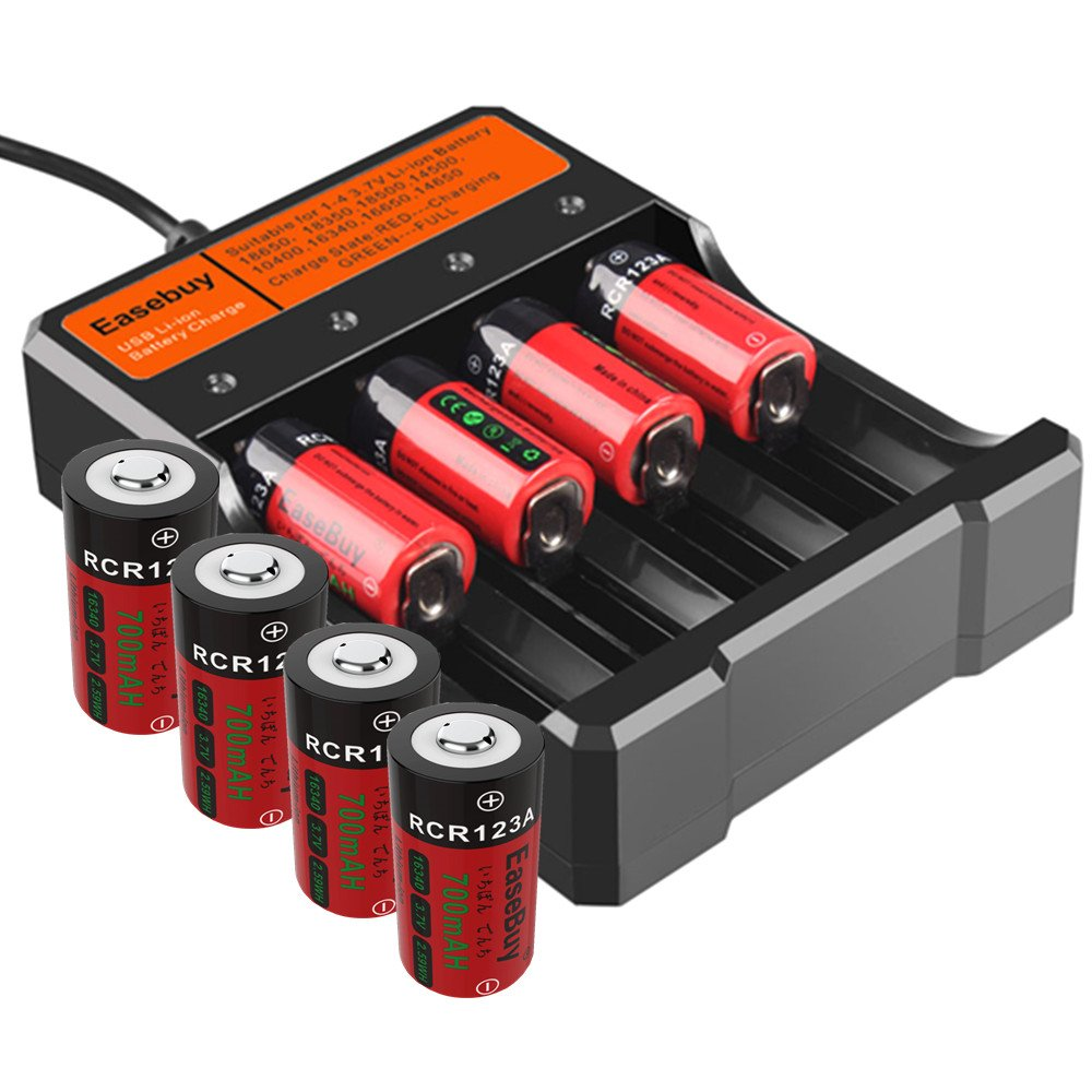 EaseBuy 8 Pack CR123A Rechargeable Batteries 3.7V 700mAH 16340 RCR123A Lithium ion Camera Batteries with Charger for Arlo Cameras, Led Flashlight, Security System