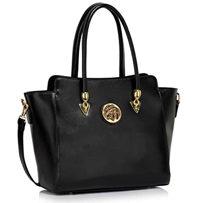 fb00a17188ed Designer Faux Leather New (Black) Handbag Womens Fashion Tote Shoulder Bags  Ladies Large