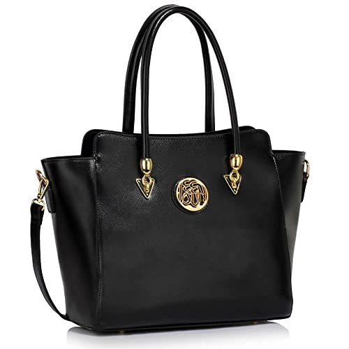 d586fd434c Designer Faux Leather New (Black) Handbag Womens Fashion Tote Shoulder Bags  Ladies Large