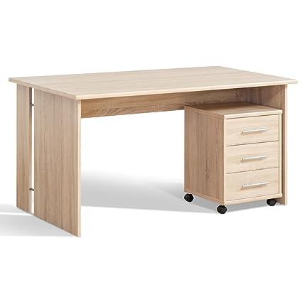 Mesa de oficina con{2} madera de roble conjunto de la ...