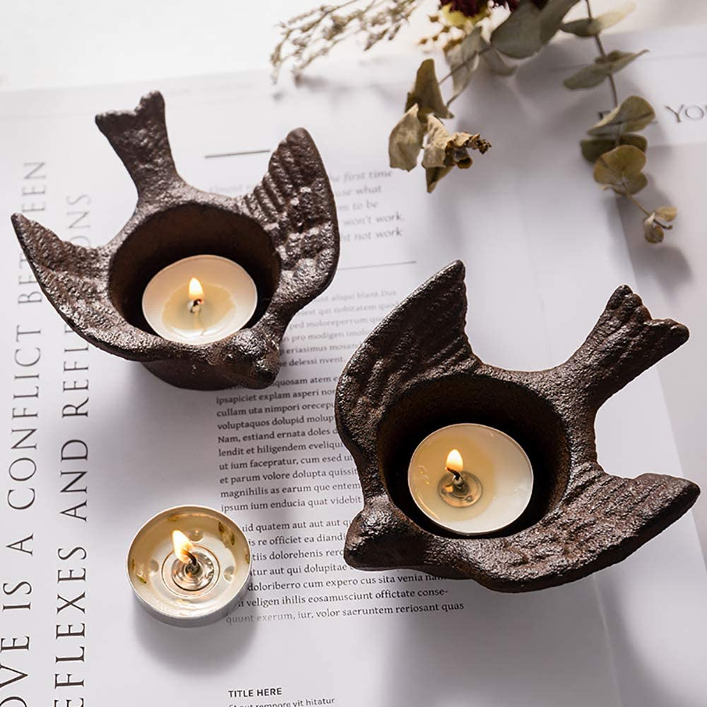 ChezMax 2 Pack Cast Iron Swallows Christmas Candleholders Black Vintage Tea Light Candle Holders Metal Ashtray Tabletop Containers Home Decoration