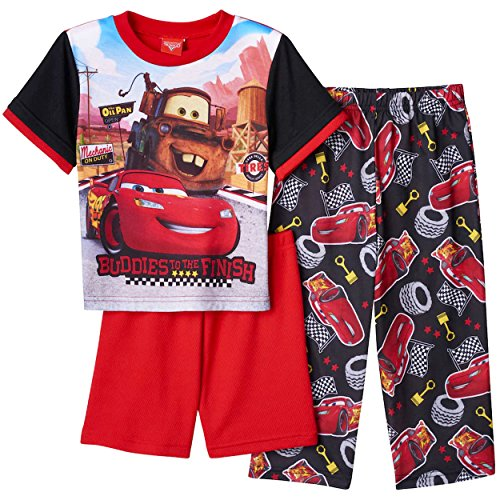 Boys Disney Lightning Mcqueen Cars (Disney Cars Lightning McQueen Tow Mater Boys 3 piece Pajamas PJ Set (4T, Red/Black))