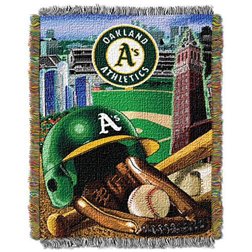 Oakland Athletics Blanket - The Northwest Company MLB Oakland Athletics Home Field Advantage Woven Tapestry Throw, 48