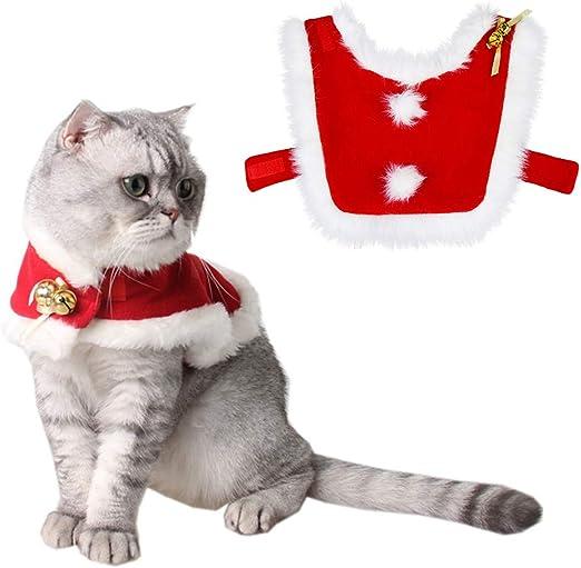 Tomkity Trajes Ropa para Mascotas Navidad Chaqueta Abrigo para Gato Cachorro Traje de Navidad Gato Perro Dulce Regalo con Clochette Velcro Ajustable: Amazon.es: Productos para mascotas