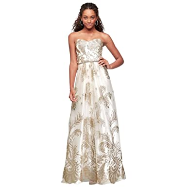 Glitter-Print Mesh Prom Dress with Beaded Waist Style 57617D, Ivory ...