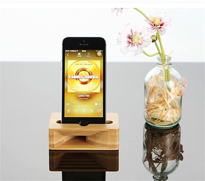 ae80d548bd9e95 Image Unavailable. Image not available for. Color: Like A Song Natural Phone  Sound Amplifier Bamboo Trumpet Holder ...