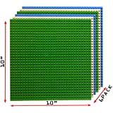 """Upgrade Building Base Plates- Baseplate 10"""" x 10"""" in Variety Color, Compatible with all Major Brands (Pack of 6, Variety)"""