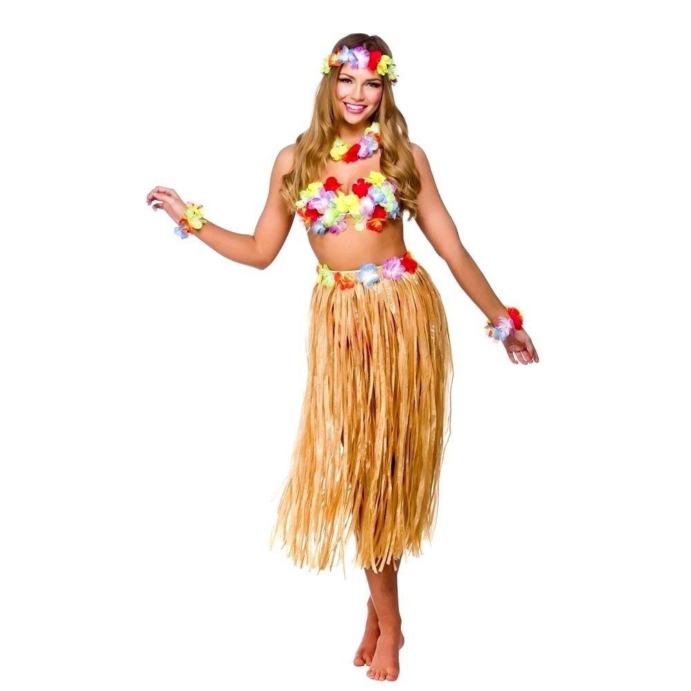 2 pulseras SYOO 4 en 1 conjunto de trajes de fiesta de Hawai collar de garland de lei falda de hula vestido de lujo para ni/ñas mujeres fiesta de Luau de Hawai diadema de flores