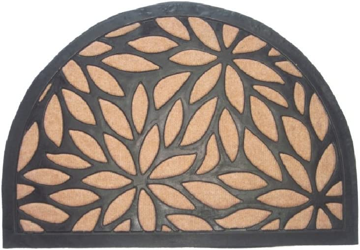 "Imports Decor 866SMT Synthetic Half Round Door Mat, 16"" x 24"", Brown"