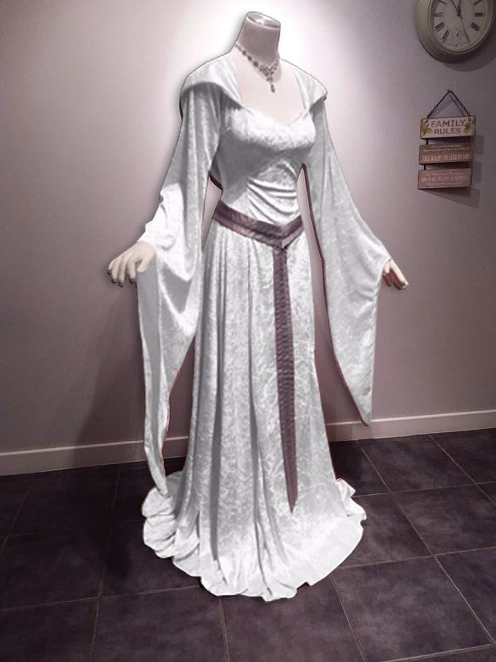 62f60dd1d090 Amazon.com : Plus Size Medieval Vintage Celtic Dress Long Sleeve Suqare  Collar Hooded Floor Length Renaissance Gothic Dress Cosplay Halloween  Costume (Wine ...