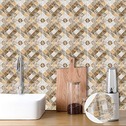 Tile Set Wall 55 - Smartcoco 3D Tiles Sticker DIY Removable Waterproof Oil-Proof Tile Decals for Bathroom Kitchen Wall Sticker Home Decor, Set of 10
