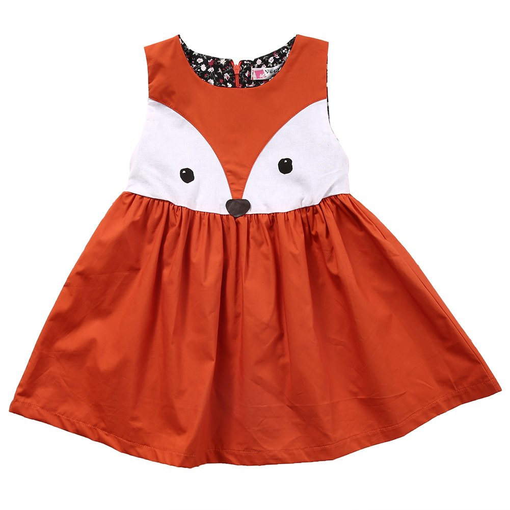 Zekky Girls' Fox Pattern Casual Sleeveless Dress Summer Dress