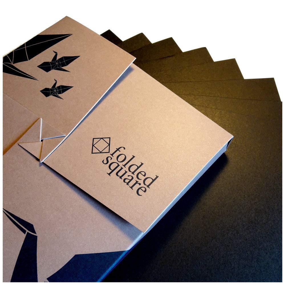 Black Origami Paper | 100 Sheets, 6'' Square | Pantone Process Black by folded square