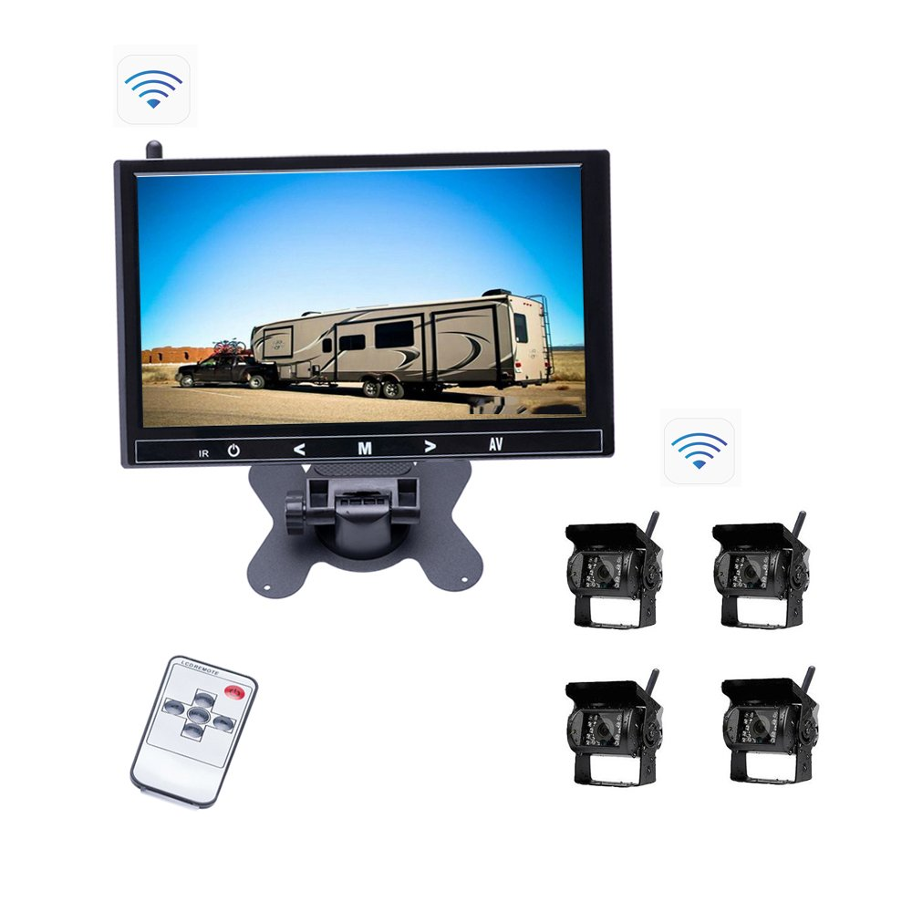 Camecho Wireless Backup Camera 9 inch HD Full Color Monitor 18 IR Night Vision Waterproof Built-in Wireless Signal Chips Rear Camera for Trailer /Truck / RV / 5th-wheel / Caravan (4 channel wireless backup camera) CM00-K0163
