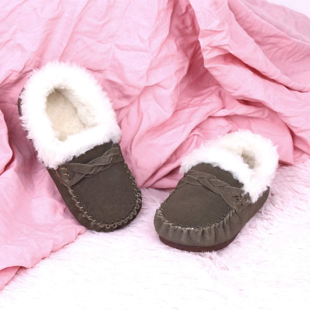 Robasiom Girls and Boys Cowhide Leather Mocassin Loafers,Suede Winter Slipper Shoes for Kids Baby Toddler//Little Kid