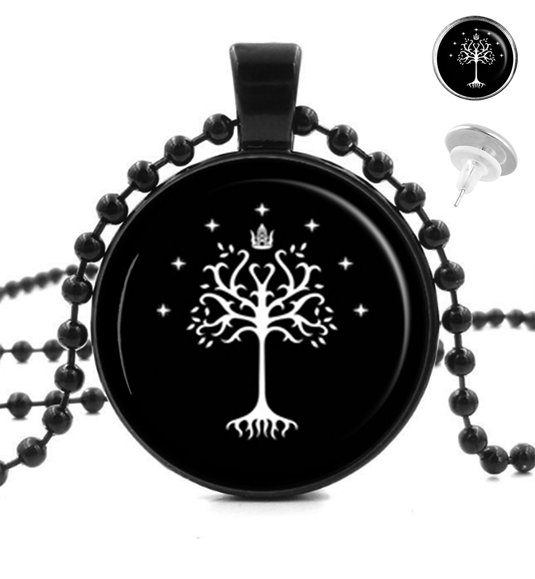 KingCow White Tree of Gondor Pendant Necklace Tag Silver Earrings Jewelry Set