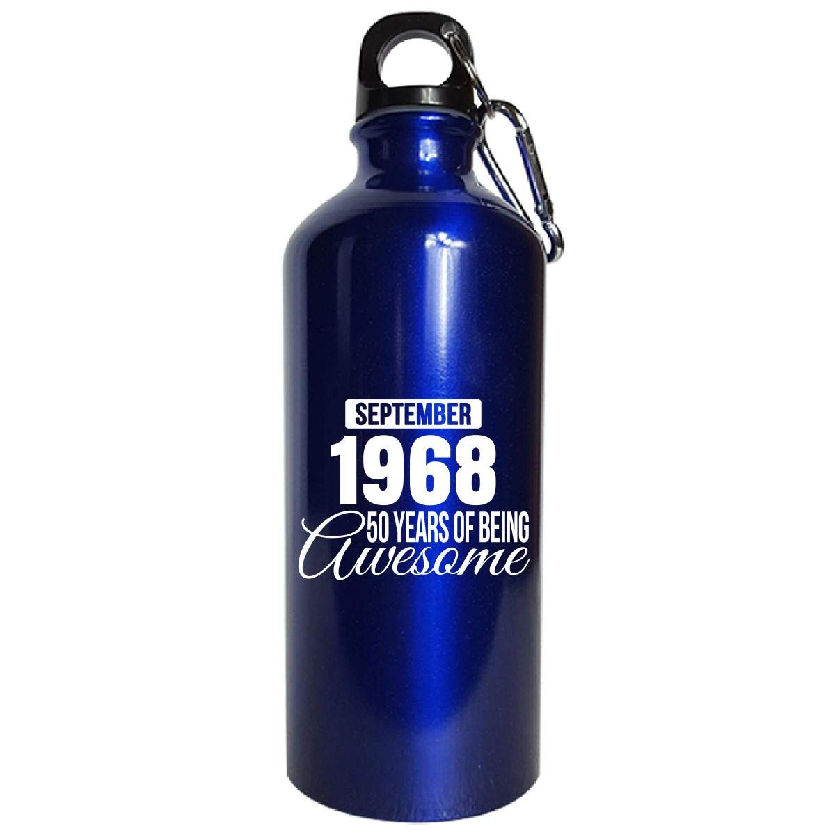 September 1968 50 Years Of Being Awesome Funny Birthday Gift - Water Bottle Metallic Blue by Shirt Luv (Image #1)