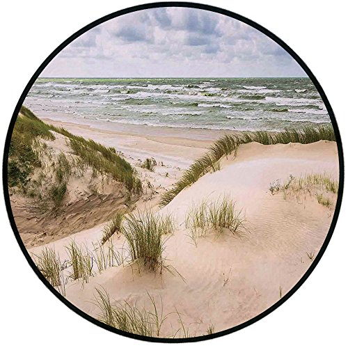 Printing Round Rug,Beach,Windy Day in the Baltic Seaside in Lithuania Huge Grand Waves Tidal Flow Surfing Spot Mat Non-Slip Soft Entrance Mat Door Floor Rug Area Rug For Chair Living Room,Cream Blue