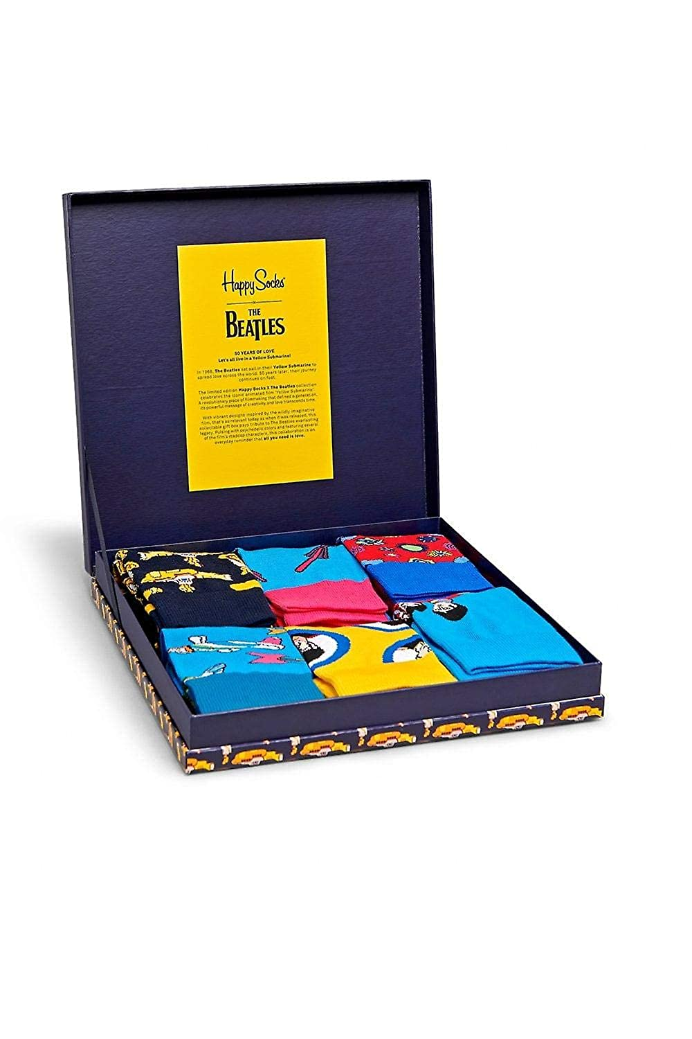 Happy Socks Limited Edition The Beatles Yellow Submarine 6 Pack Collectors LP Box at Amazon Mens Clothing store: