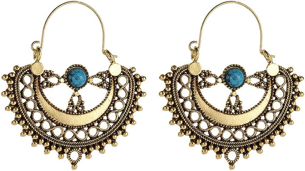 Pendientes de estilo étnico vintage, para mujer, con diseño de lágrima de color turquesa, estilo étnico, para regalo de mujer, color dorado envejecido