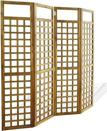 200 x 175 cm Parete divisorio pieghevole per camera divisoria divisoria per esterni 4 pannelli con ferro e poliestere colore antracite per patio LARS360 colore: Antracite