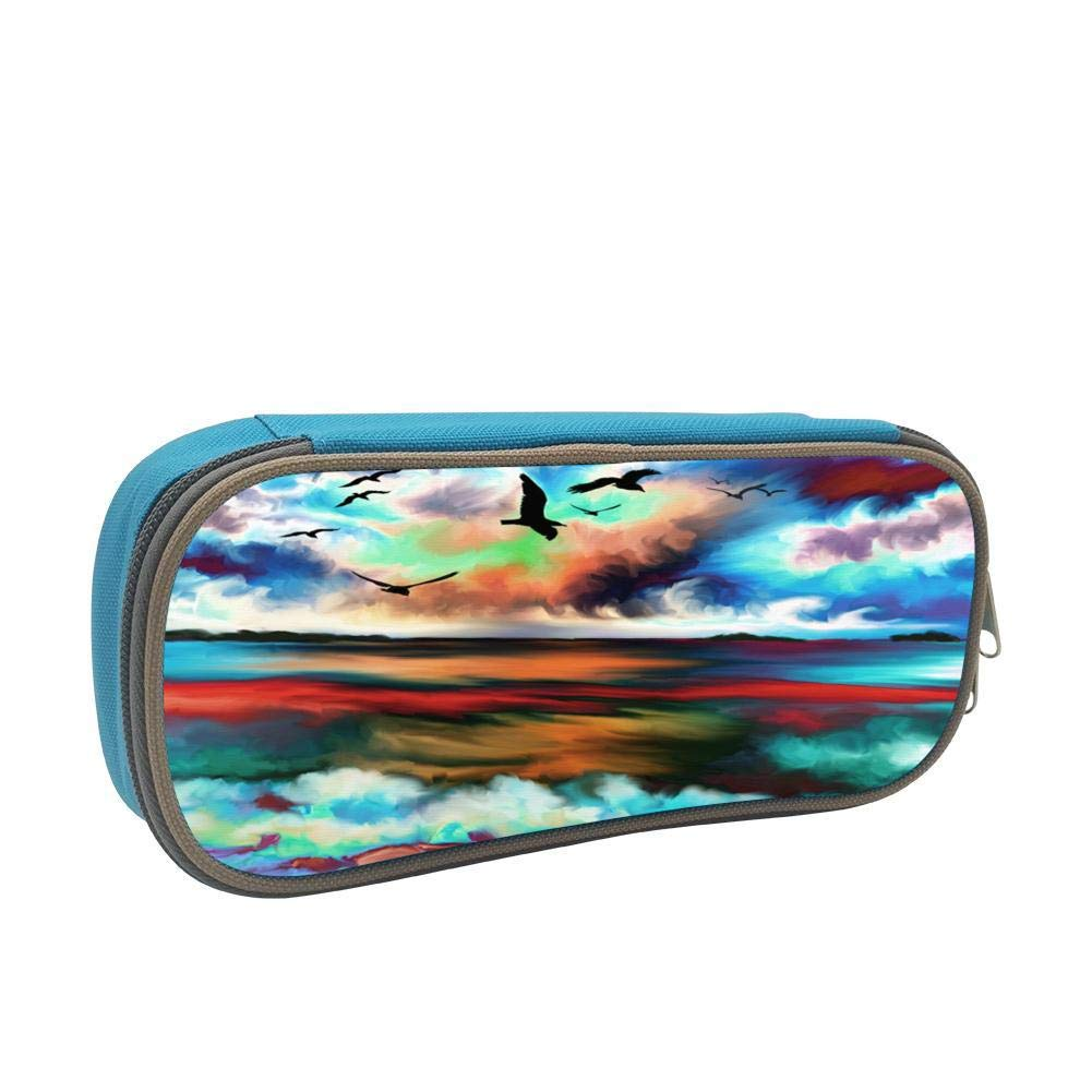 Painting The Scenery Large Capacity Multi-Layer Pencil Case Back To School Choice Blue