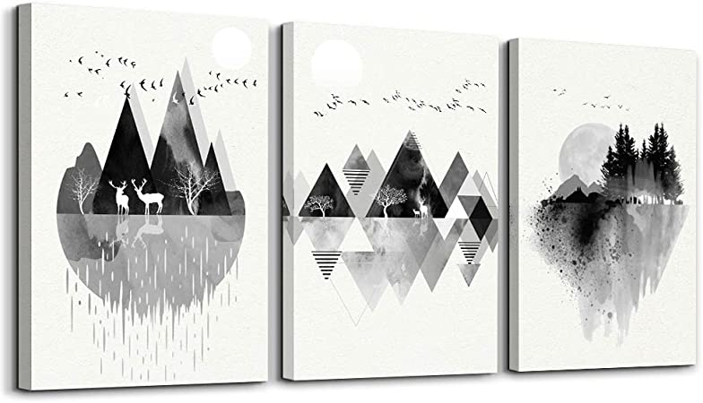 Amazon Com Black And White Abstract Mountain In Daytime Canvas Prints Wall Art Paintings Abstract Geometry Bathroom Wall Decor Wall Artworks Pictures For Living Room Bedroom Decoration 3 Panels Home Decor Poste Posters