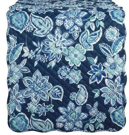 Waverly Quilted Floral Charismatic Table Runner Blue 14